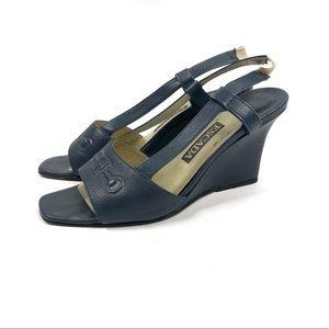 ESCADA Blue Leather Slingback Open Toe Wedge 6 1/2